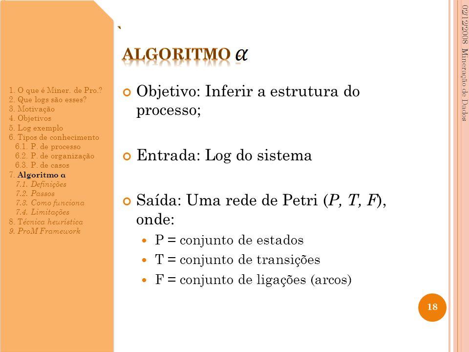 Objetivo: Inferir a estrutura do processo; Entrada: Log do sistema Saída: Uma rede de Petri ( P, T, F ), onde: P = conjunto de estados T = conjunto de