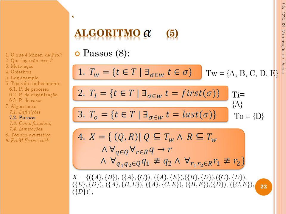 Passos (8): 02/12/2008 Mineração de Dados 22 Tw = {A, B, C, D, E} Ti= {A} To = {D} 1. O que é Miner. de Pro.? 2. Que logs são esses? 3. Motivação 4. O