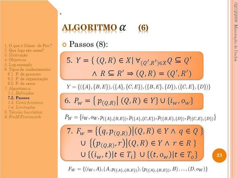 Passos (8): 02/12/2008 Mineração de Dados 23 1. O que é Miner. de Pro.? 2. Que logs são esses? 3. Motivação 4. Objetivos 5. Log exemplo 6. Tipos de co
