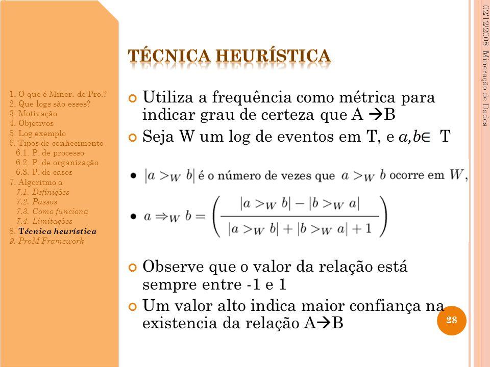 Utiliza a frequência como métrica para indicar grau de certeza que A B Seja W um log de eventos em T, e a,b T Observe que o valor da relação está semp