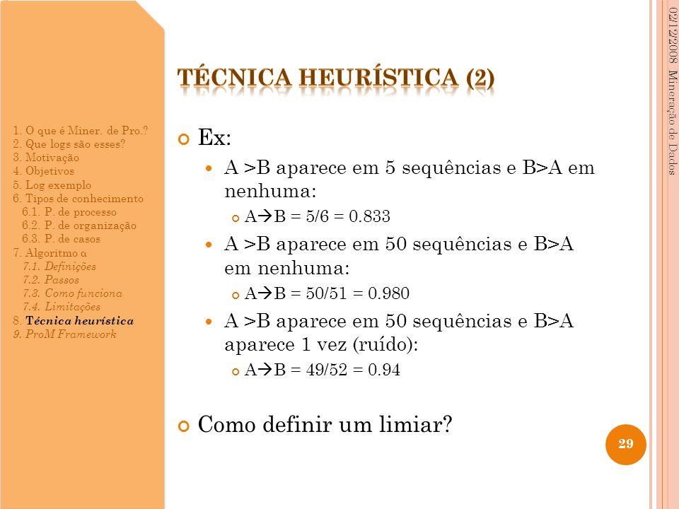 Ex: A >B aparece em 5 sequências e B>A em nenhuma: A B = 5/6 = 0.833 A >B aparece em 50 sequências e B>A em nenhuma: A B = 50/51 = 0.980 A >B aparece