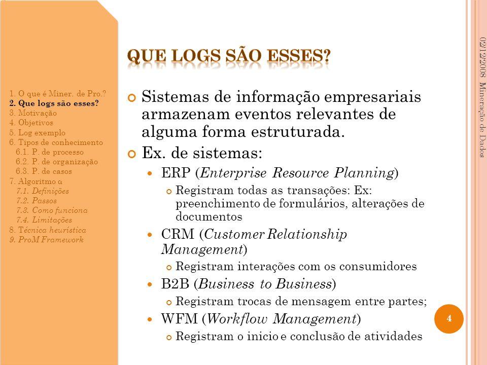 Sistemas de informação empresariais armazenam eventos relevantes de alguma forma estruturada. Ex. de sistemas: ERP ( Enterprise Resource Planning ) Re