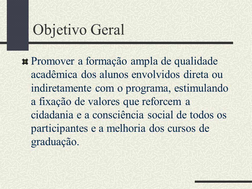 Objetivo Geral Promover a formação ampla de qualidade acadêmica dos alunos envolvidos direta ou indiretamente com o programa, estimulando a fixação de