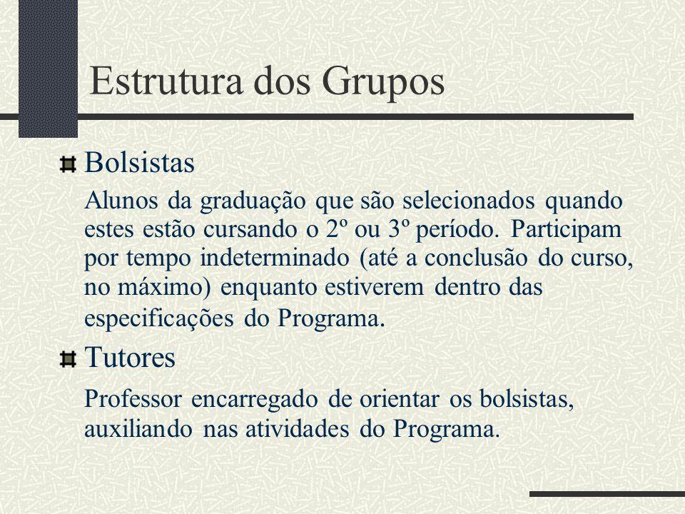 Estrutura dos Grupos Bolsistas Alunos da graduação que são selecionados quando estes estão cursando o 2º ou 3º período. Participam por tempo indetermi