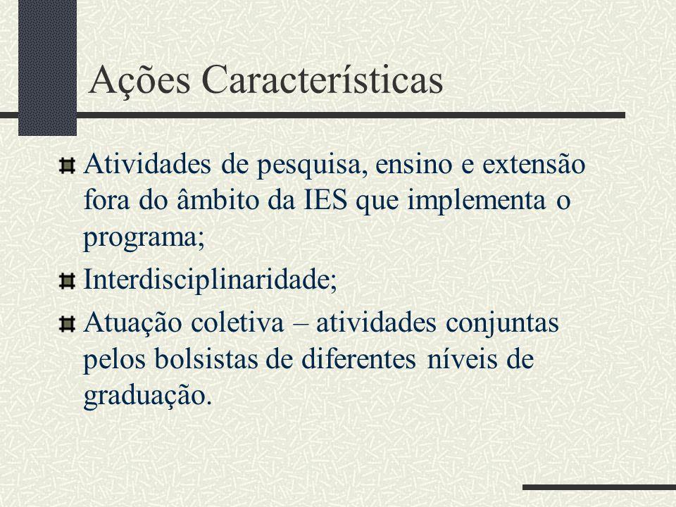 Ações Características Atividades de pesquisa, ensino e extensão fora do âmbito da IES que implementa o programa; Interdisciplinaridade; Atuação coleti