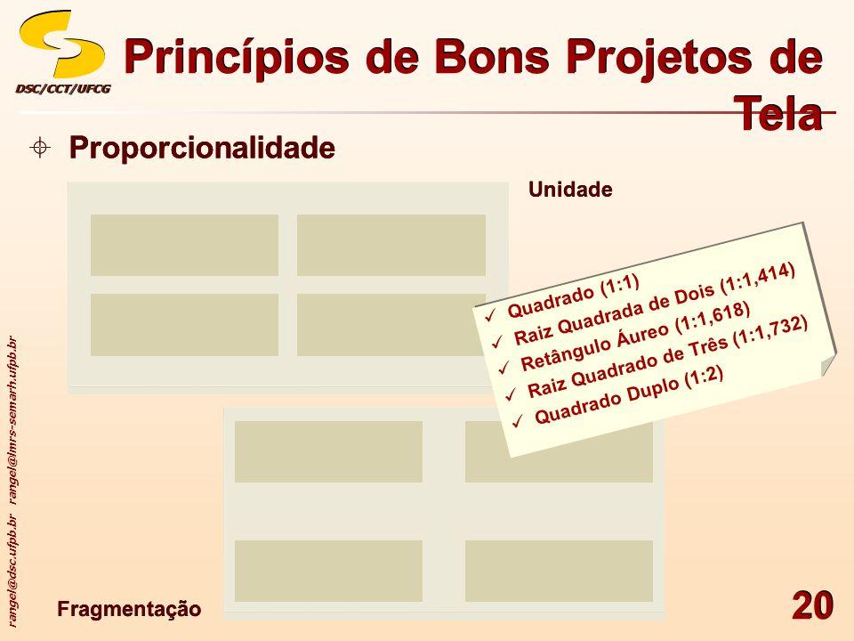 rangel@dsc.ufpb.br rangel@lmrs-semarh.ufpb.br DSC/CCT/UFCGDSC/CCT/UFCG 20 Princípios de Bons Projetos de Tela Proporcionalidade Unidade Fragmentação Q