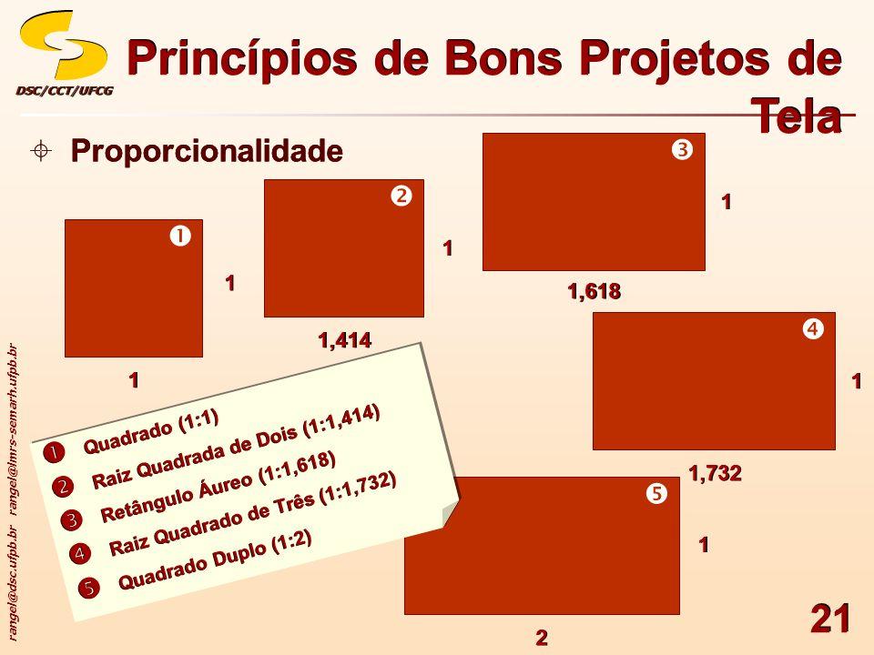 rangel@dsc.ufpb.br rangel@lmrs-semarh.ufpb.br DSC/CCT/UFCGDSC/CCT/UFCG 21 Princípios de Bons Projetos de Tela Proporcionalidade 11 11 1,414 11 1,618 1