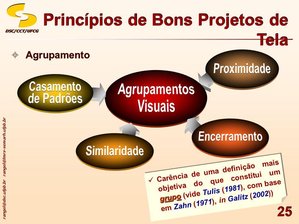 rangel@dsc.ufpb.br rangel@lmrs-semarh.ufpb.br DSC/CCT/UFCGDSC/CCT/UFCG 25 Princípios de Bons Projetos de Tela Agrupamento grupo Carência de uma defini