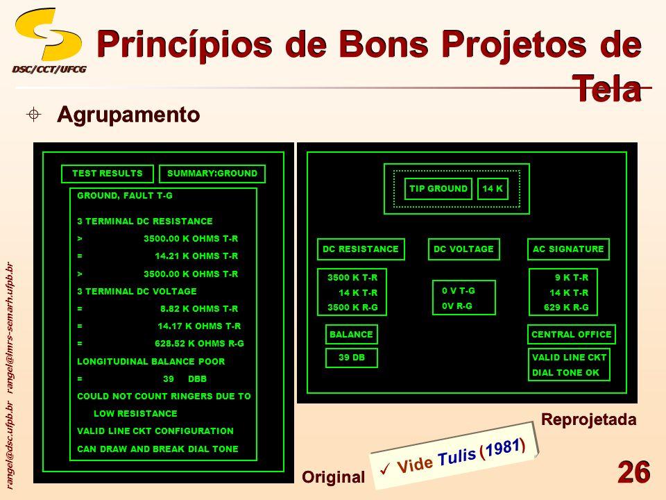 rangel@dsc.ufpb.br rangel@lmrs-semarh.ufpb.br DSC/CCT/UFCGDSC/CCT/UFCG 26 Princípios de Bons Projetos de Tela Agrupamento TEST RESULTSSUMMARY:GROUND G