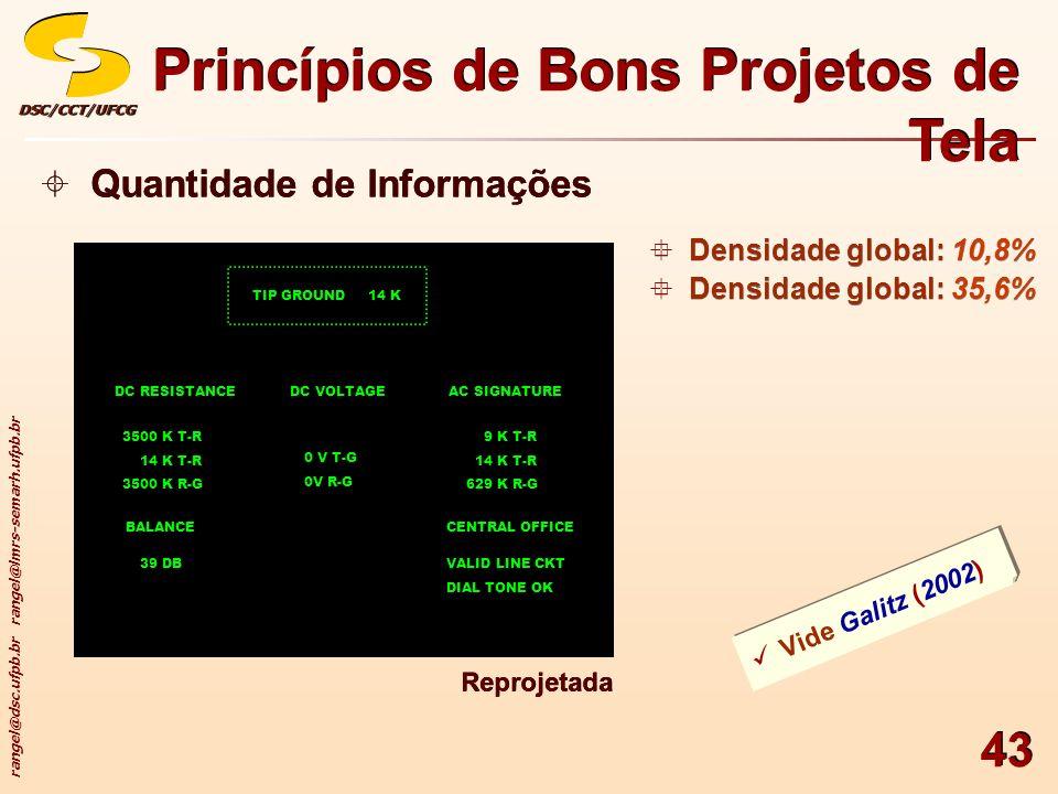 rangel@dsc.ufpb.br rangel@lmrs-semarh.ufpb.br DSC/CCT/UFCGDSC/CCT/UFCG 43 Princípios de Bons Projetos de Tela Quantidade de Informações Vide Galitz (2