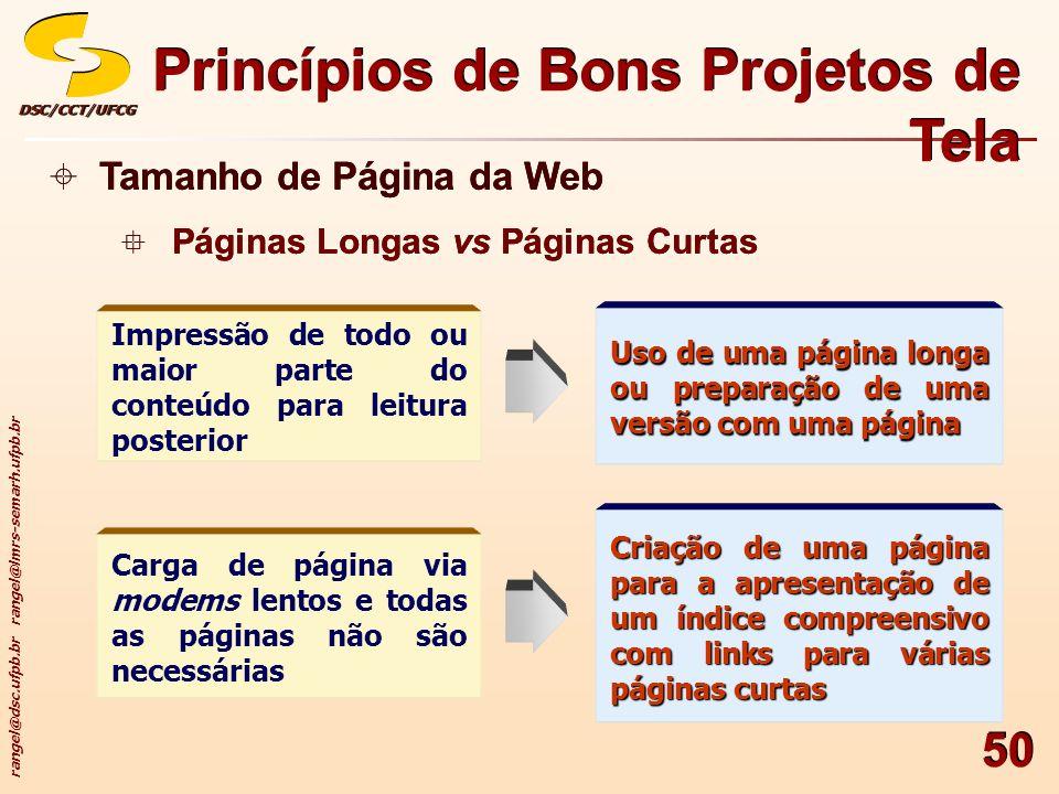 rangel@dsc.ufpb.br rangel@lmrs-semarh.ufpb.br DSC/CCT/UFCGDSC/CCT/UFCG 50 Princípios de Bons Projetos de Tela Tamanho de Página da Web Páginas Longas