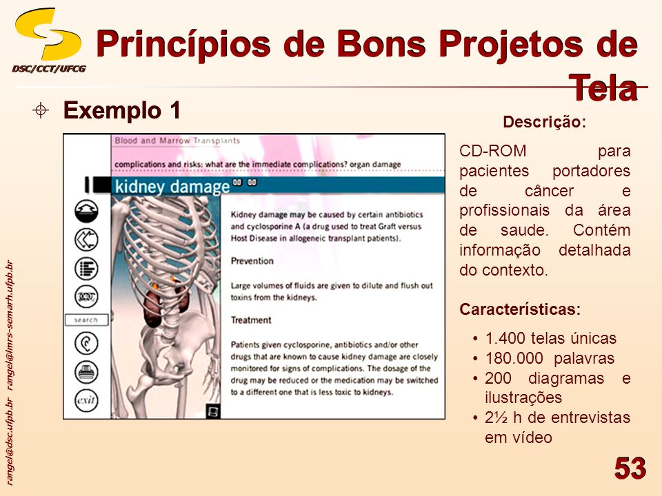 rangel@dsc.ufpb.br rangel@lmrs-semarh.ufpb.br DSC/CCT/UFCGDSC/CCT/UFCG 53 Princípios de Bons Projetos de Tela Exemplo 1 Descrição: CD-ROM para pacient