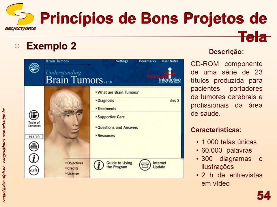 rangel@dsc.ufpb.br rangel@lmrs-semarh.ufpb.br DSC/CCT/UFCGDSC/CCT/UFCG 54 Princípios de Bons Projetos de Tela Exemplo 2 Descrição: CD-ROM componente d