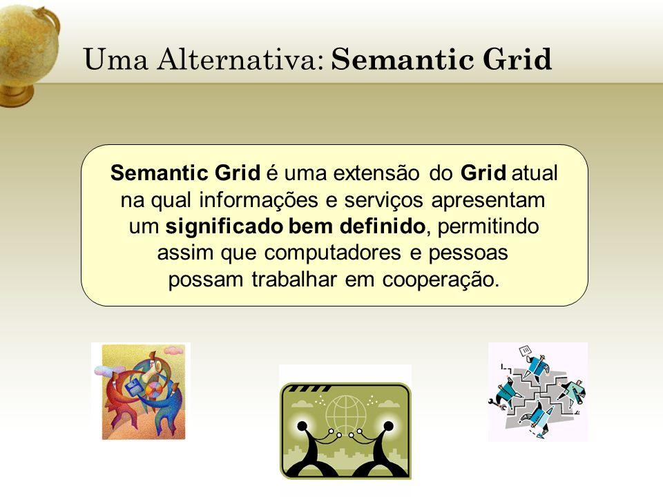Uma Alternativa: Semantic Grid Semantic Grid é uma extensão do Grid atual na qual informações e serviços apresentam um significado bem definido, permi