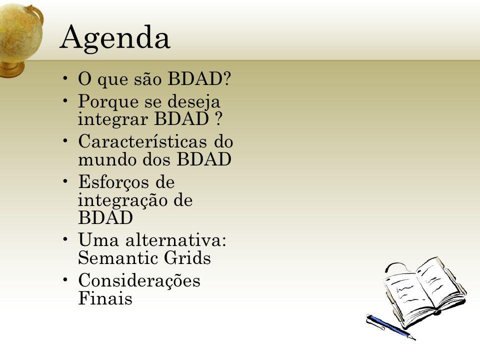 Agenda O que são BDAD? Porque se deseja integrar BDAD ? Características do mundo dos BDAD Esforços de integração de BDAD Uma alternativa: Semantic Gri