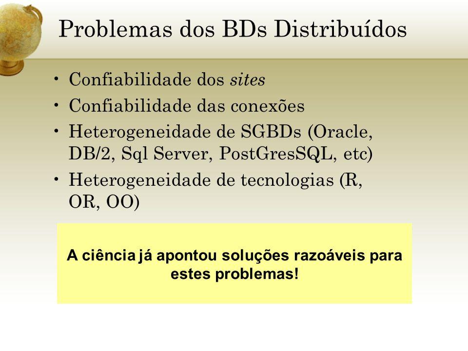 Problemas dos BDs Distribuídos Confiabilidade dos sites Confiabilidade das conexões Heterogeneidade de SGBDs (Oracle, DB/2, Sql Server, PostGresSQL, e
