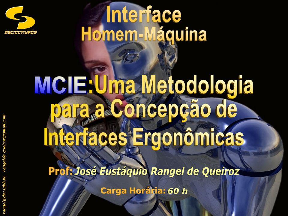 rangel@dsc.ufpb.br rangeldequeiroz@gmail.com DSC/CCT/UFCGDSC/CCT/UFCG 52 Modelagem da Apresentação I Levantamento dos Objetos e Ações da Tarefa Modelagem da Apresentação I Levantamento dos Objetos e Ações da Tarefa MCIE Etapas do MCIE XLV Modelo da Tarefa TarefaAçãoObjetoGrau de Complexidade T1.1 EfetuarLoginMédio T1.1.1 SelecionarProdutoBaixo T1.1.2 SubmeterNome do ProdutoBaixo T1.1.2.1 AlterarSenhaMédio