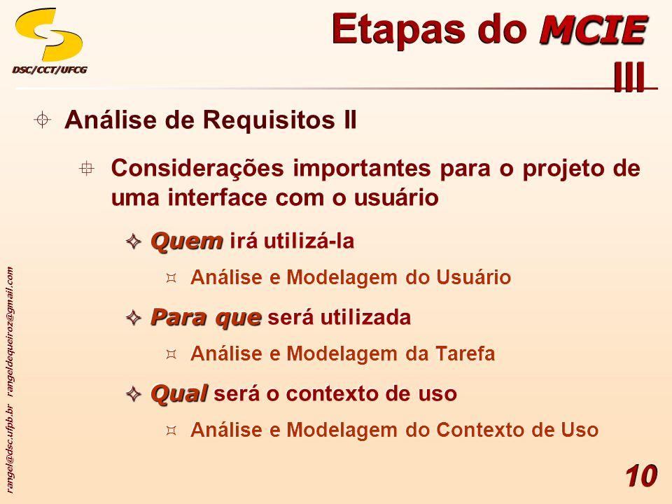 rangel@dsc.ufpb.br rangeldequeiroz@gmail.com DSC/CCT/UFCGDSC/CCT/UFCG 10 Análise de Requisitos II Considerações importantes para o projeto de uma inte