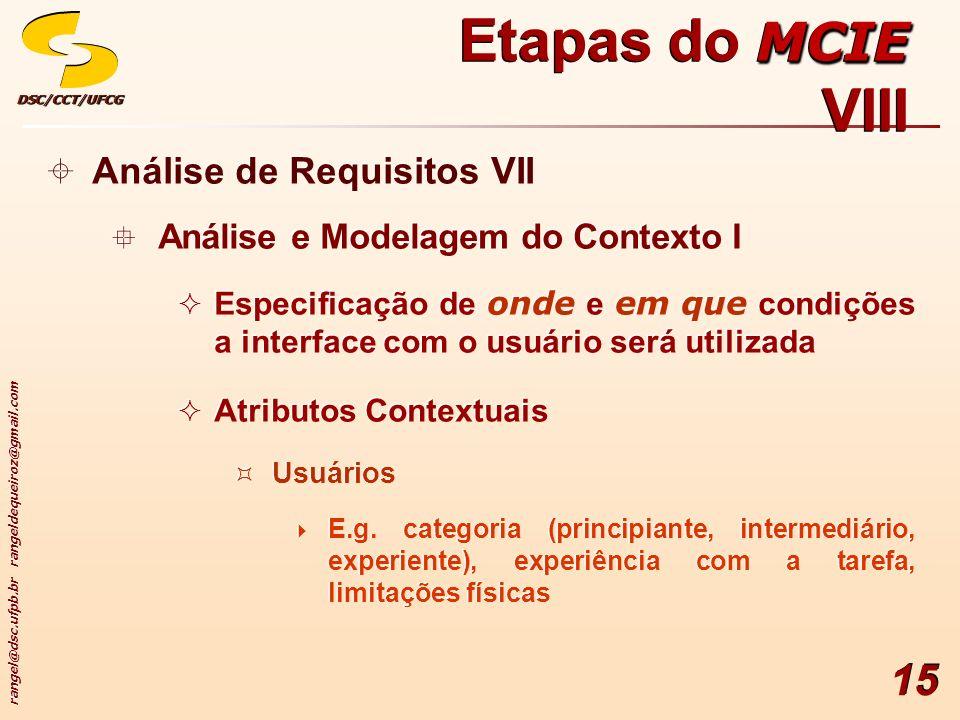 rangel@dsc.ufpb.br rangeldequeiroz@gmail.com DSC/CCT/UFCGDSC/CCT/UFCG 15 Análise de Requisitos VII Análise e Modelagem do Contexto I Especificação de onde e em que condições a interface com o usuário será utilizada Atributos Contextuais Usuários E.g.