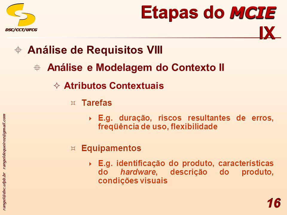 rangel@dsc.ufpb.br rangeldequeiroz@gmail.com DSC/CCT/UFCGDSC/CCT/UFCG 16 Análise de Requisitos VIII Análise e Modelagem do Contexto II Atributos Conte
