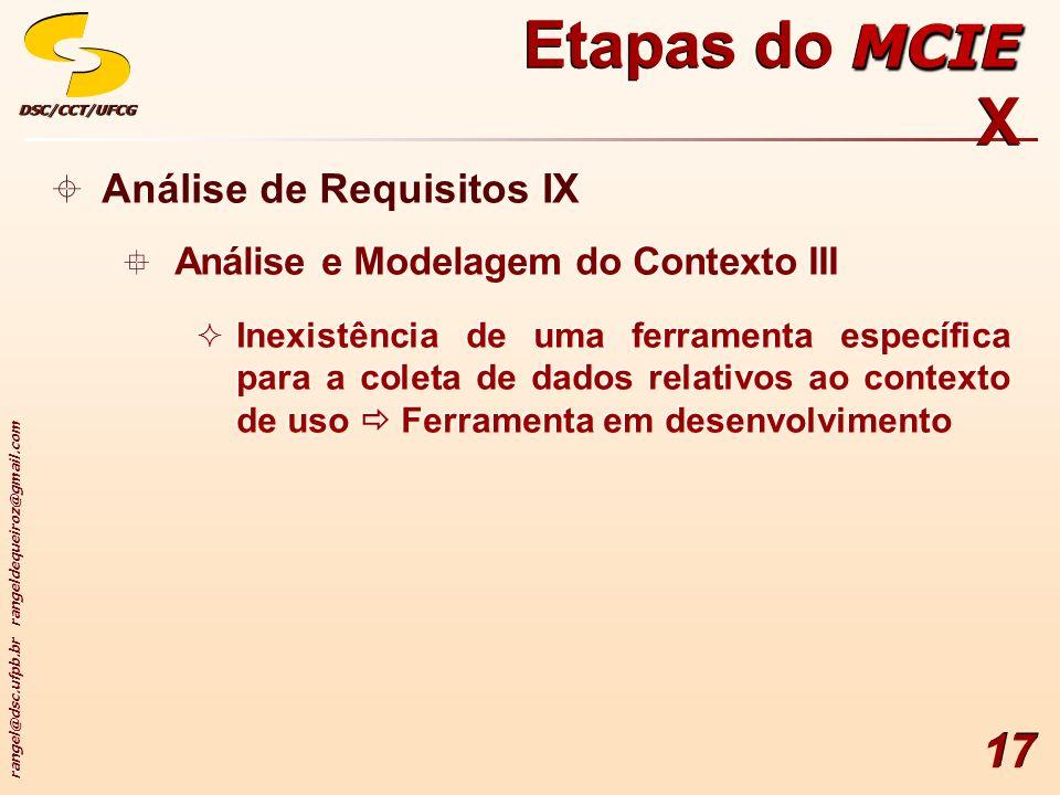 rangel@dsc.ufpb.br rangeldequeiroz@gmail.com DSC/CCT/UFCGDSC/CCT/UFCG 17 Análise de Requisitos IX Análise e Modelagem do Contexto III Inexistência de uma ferramenta específica para a coleta de dados relativos ao contexto de uso Ferramenta em desenvolvimento Análise de Requisitos IX Análise e Modelagem do Contexto III Inexistência de uma ferramenta específica para a coleta de dados relativos ao contexto de uso Ferramenta em desenvolvimento MCIE Etapas do MCIE X