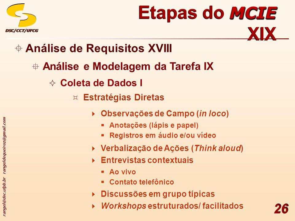 rangel@dsc.ufpb.br rangeldequeiroz@gmail.com DSC/CCT/UFCGDSC/CCT/UFCG 26 Análise de Requisitos XVIII Análise e Modelagem da Tarefa IX Coleta de Dados