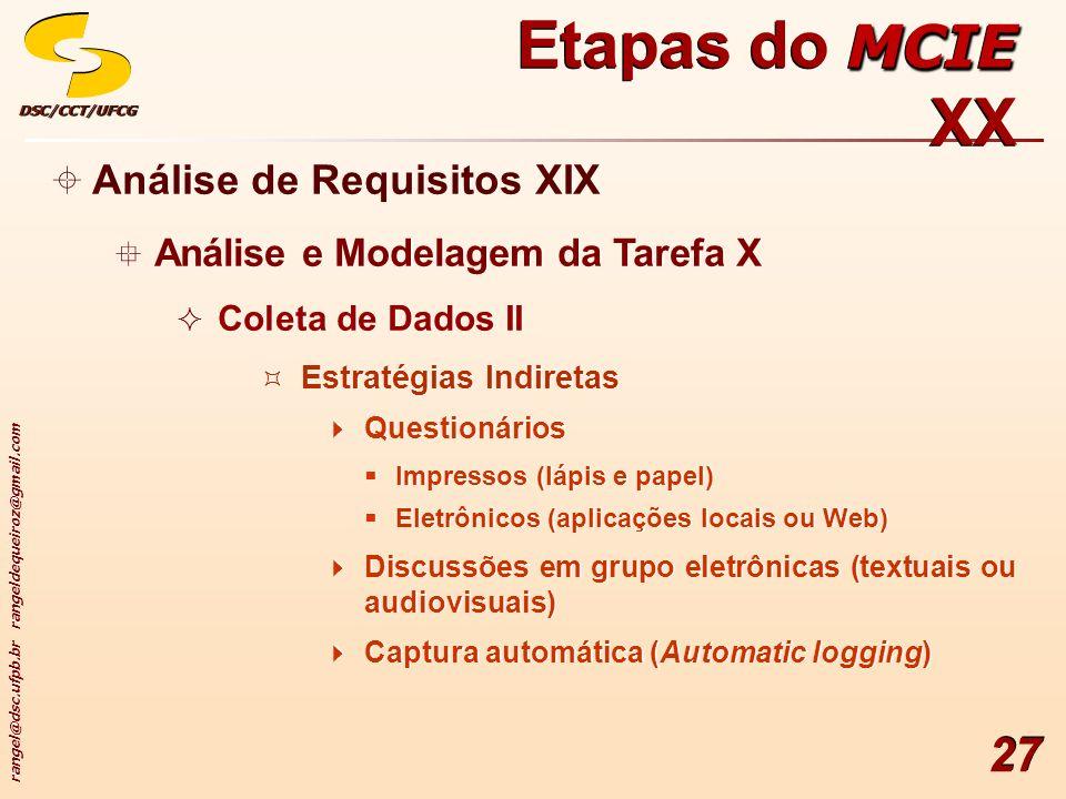 rangel@dsc.ufpb.br rangeldequeiroz@gmail.com DSC/CCT/UFCGDSC/CCT/UFCG 27 Análise de Requisitos XIX Análise e Modelagem da Tarefa X Coleta de Dados II