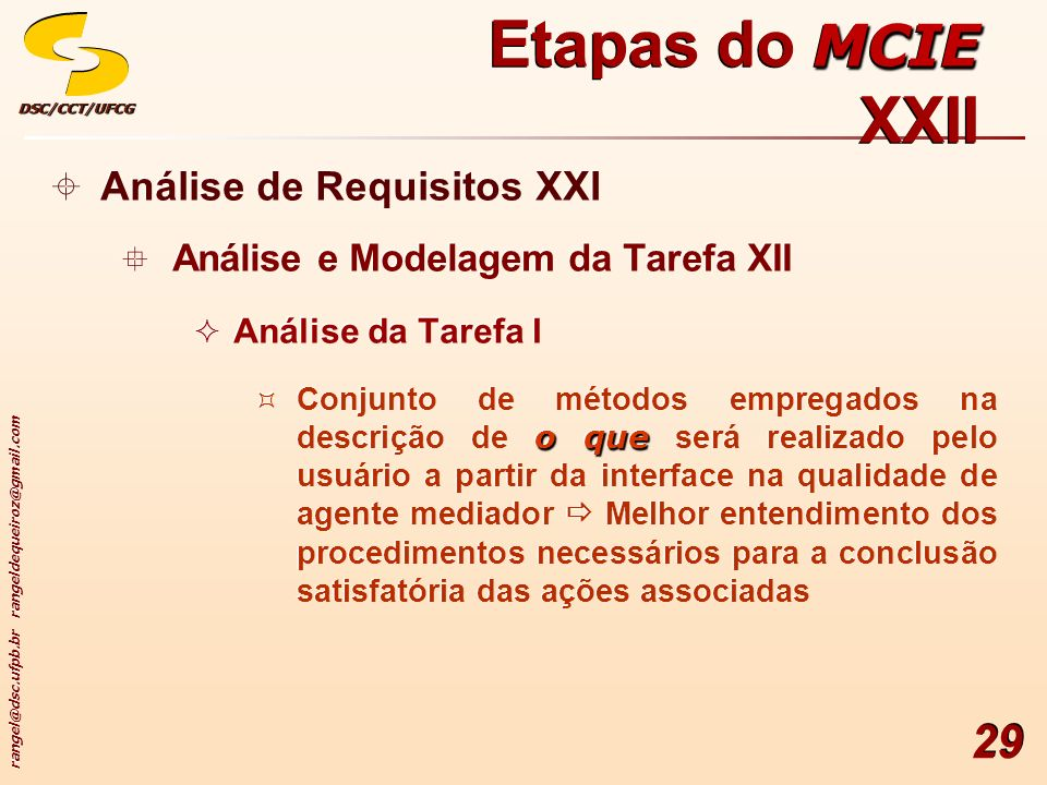 rangel@dsc.ufpb.br rangeldequeiroz@gmail.com DSC/CCT/UFCGDSC/CCT/UFCG 29 Análise de Requisitos XXI Análise e Modelagem da Tarefa XII Análise da Tarefa