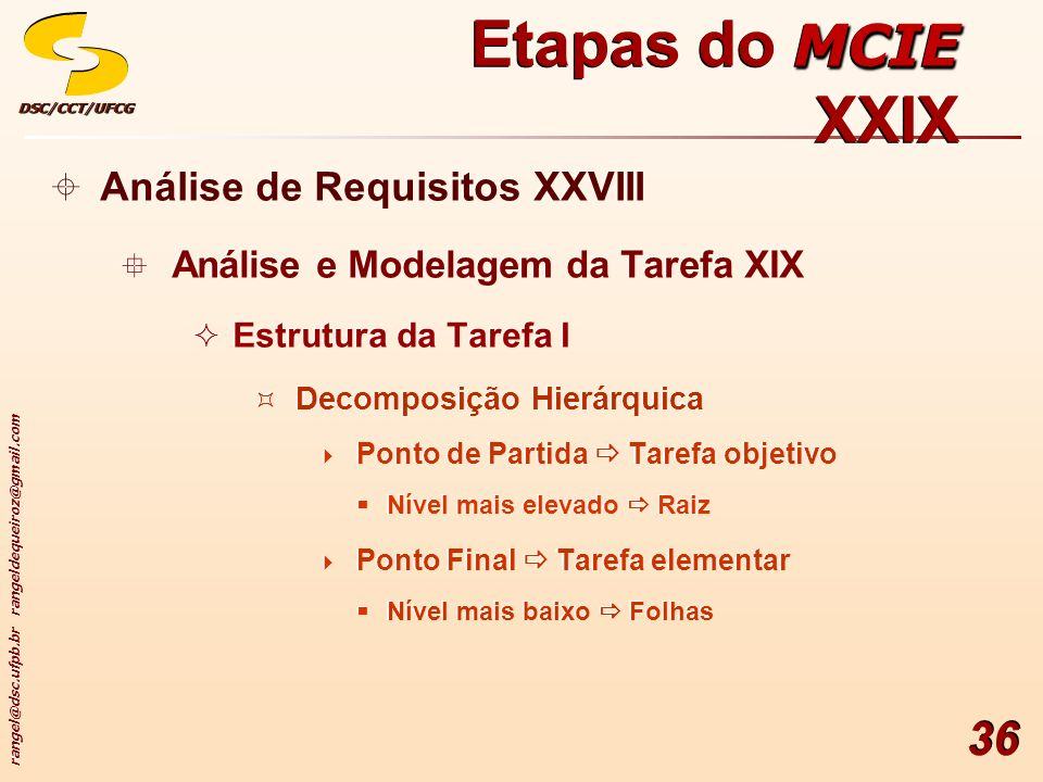 rangel@dsc.ufpb.br rangeldequeiroz@gmail.com DSC/CCT/UFCGDSC/CCT/UFCG 36 Análise de Requisitos XXVIII Análise e Modelagem da Tarefa XIX Estrutura da T
