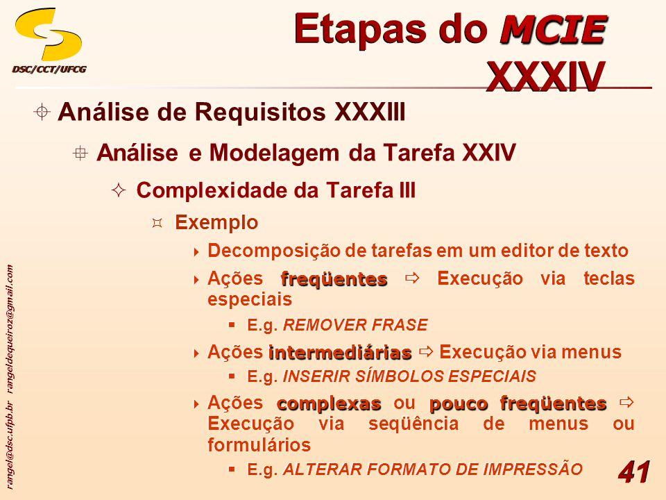 rangel@dsc.ufpb.br rangeldequeiroz@gmail.com DSC/CCT/UFCGDSC/CCT/UFCG 41 Análise de Requisitos XXXIII Análise e Modelagem da Tarefa XXIV Complexidade