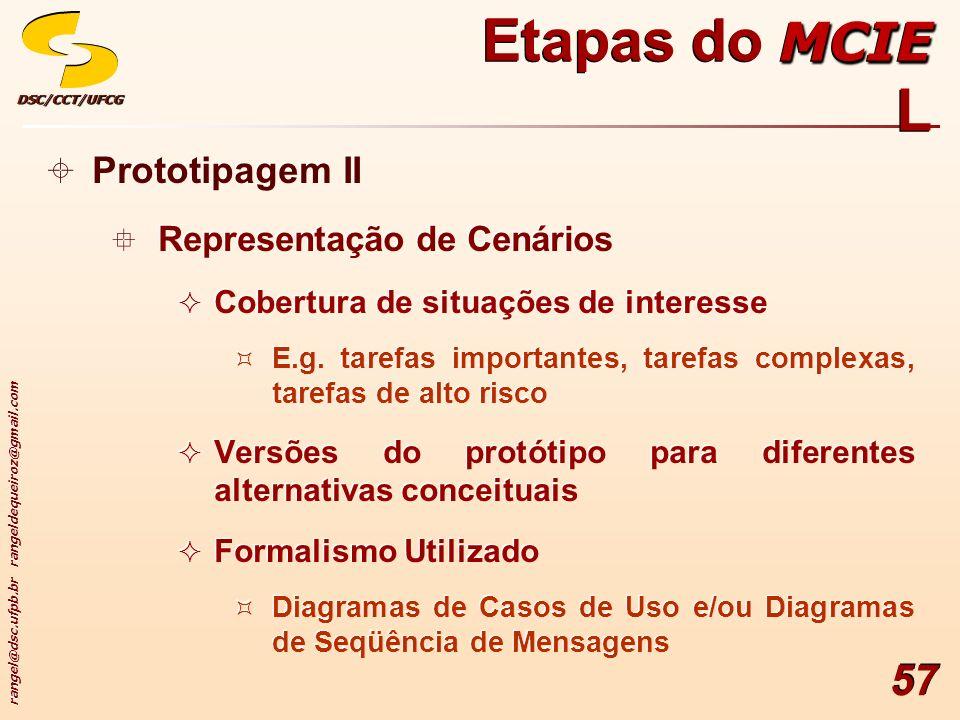 rangel@dsc.ufpb.br rangeldequeiroz@gmail.com DSC/CCT/UFCGDSC/CCT/UFCG 57 Prototipagem II Representação de Cenários Cobertura de situações de interesse