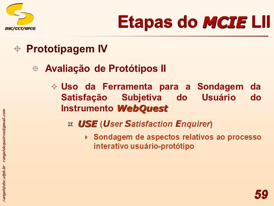 rangel@dsc.ufpb.br rangeldequeiroz@gmail.com DSC/CCT/UFCGDSC/CCT/UFCG 59 Prototipagem IV Avaliação de Protótipos II WebQuest Uso da Ferramenta para a