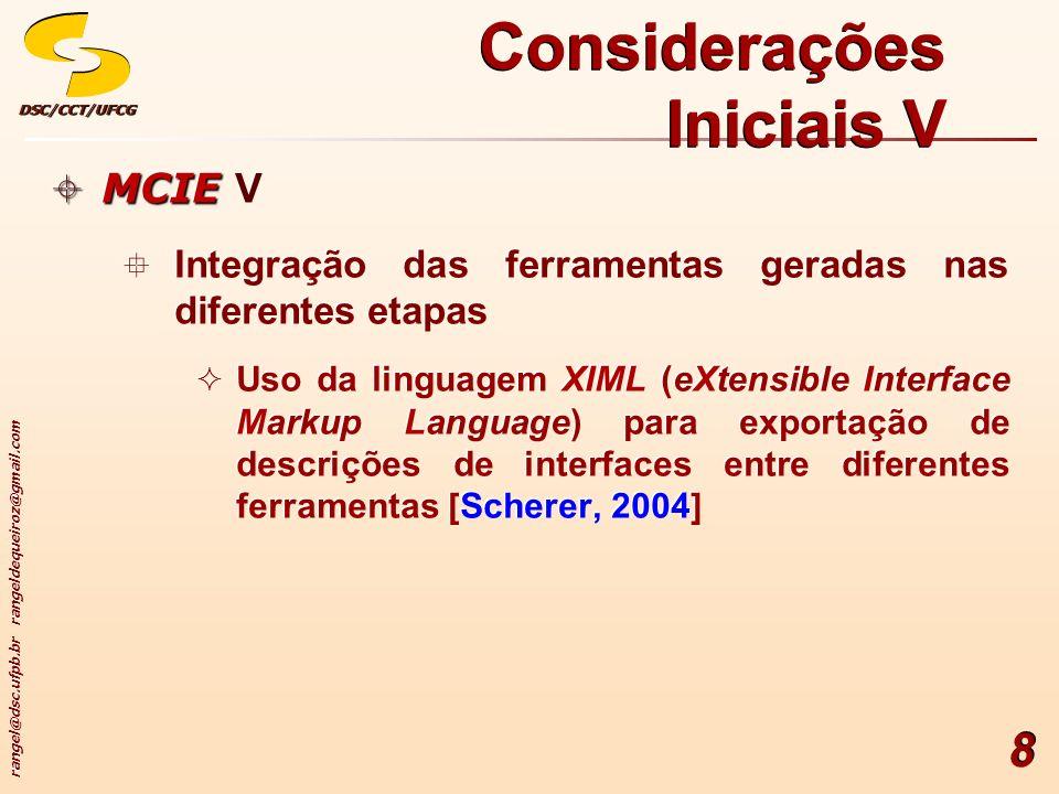 rangel@dsc.ufpb.br rangeldequeiroz@gmail.com DSC/CCT/UFCGDSC/CCT/UFCG 8 Considerações Iniciais V MCIE MCIE V Integração das ferramentas geradas nas diferentes etapas Uso da linguagem XIML (eXtensible Interface Markup Language) para exportação de descrições de interfaces entre diferentes ferramentas [Scherer, 2004] MCIE MCIE V Integração das ferramentas geradas nas diferentes etapas Uso da linguagem XIML (eXtensible Interface Markup Language) para exportação de descrições de interfaces entre diferentes ferramentas [Scherer, 2004]