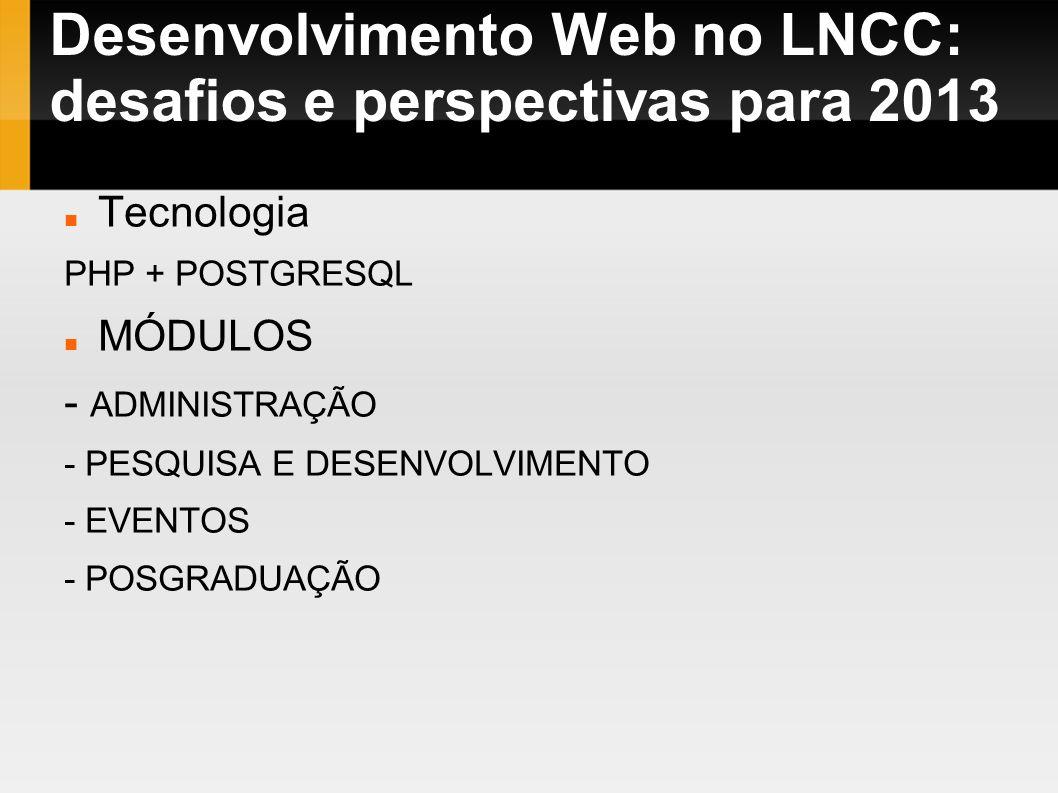 Desenvolvimento Web no LNCC: desafios e perspectivas para 2013 Tecnologia PHP + POSTGRESQL MÓDULOS - ADMINISTRAÇÃO - PESQUISA E DESENVOLVIMENTO - EVEN