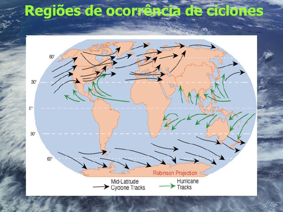 Regiões de ocorrência de ciclones