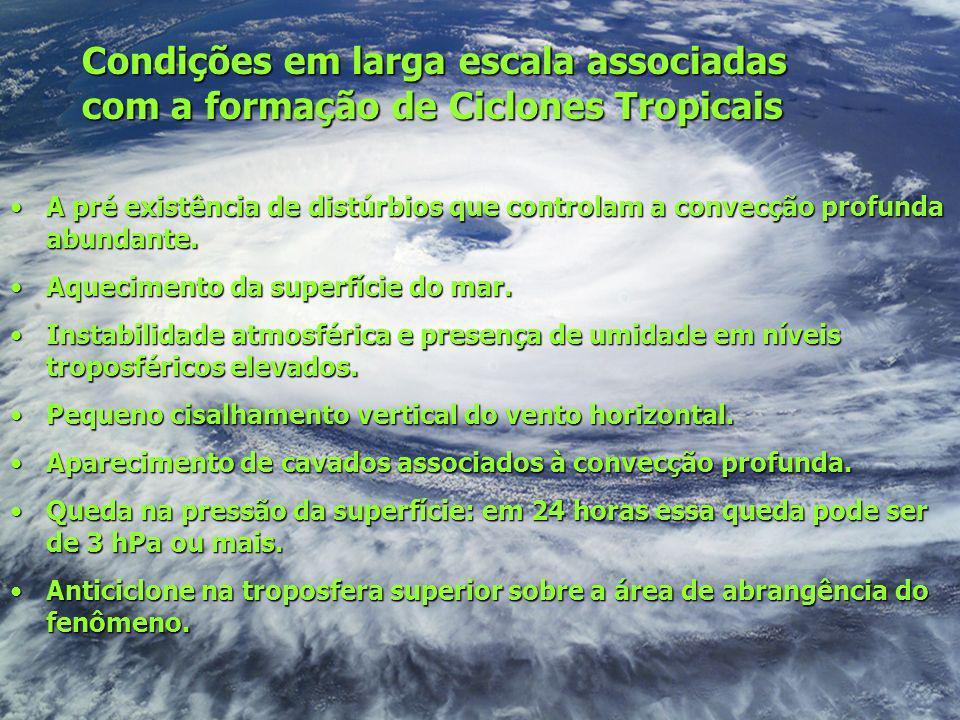 Condições em larga escala associadas com a formação de Ciclones Tropicais A pré existência de distúrbios que controlam a convecção profunda abundante.