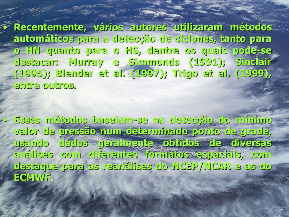 Recentemente, vários autores utilizaram métodos automáticos para a detecção de ciclones, tanto para o HN quanto para o HS, dentre os quais pode-se des
