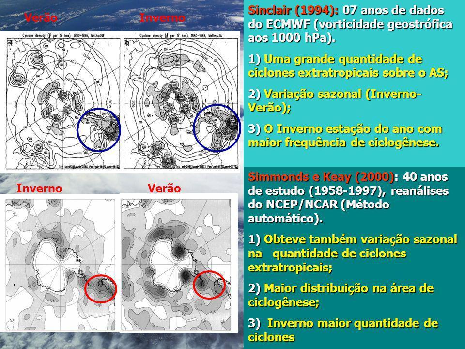 Sinclair (1994): 07 anos de dados do ECMWF (vorticidade geostrófica aos 1000 hPa). 1) Uma grande quantidade de ciclones extratropicais sobre o AS; 2)
