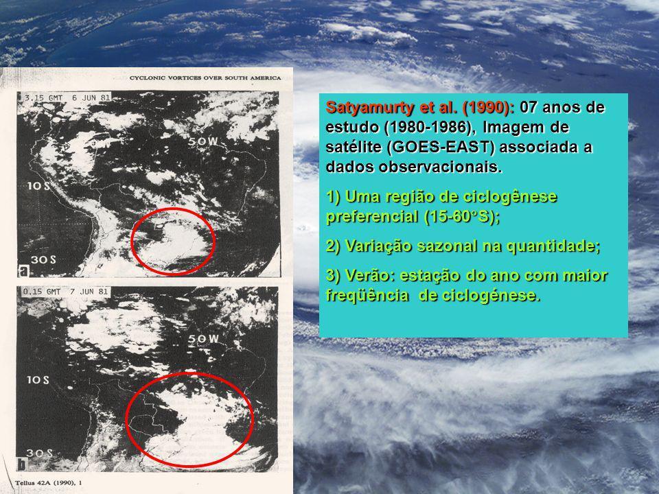 Satyamurty et al. (1990): 07 anos de estudo (1980-1986), Imagem de satélite (GOES-EAST) associada a dados observacionais. 1) Uma região de ciclogênese