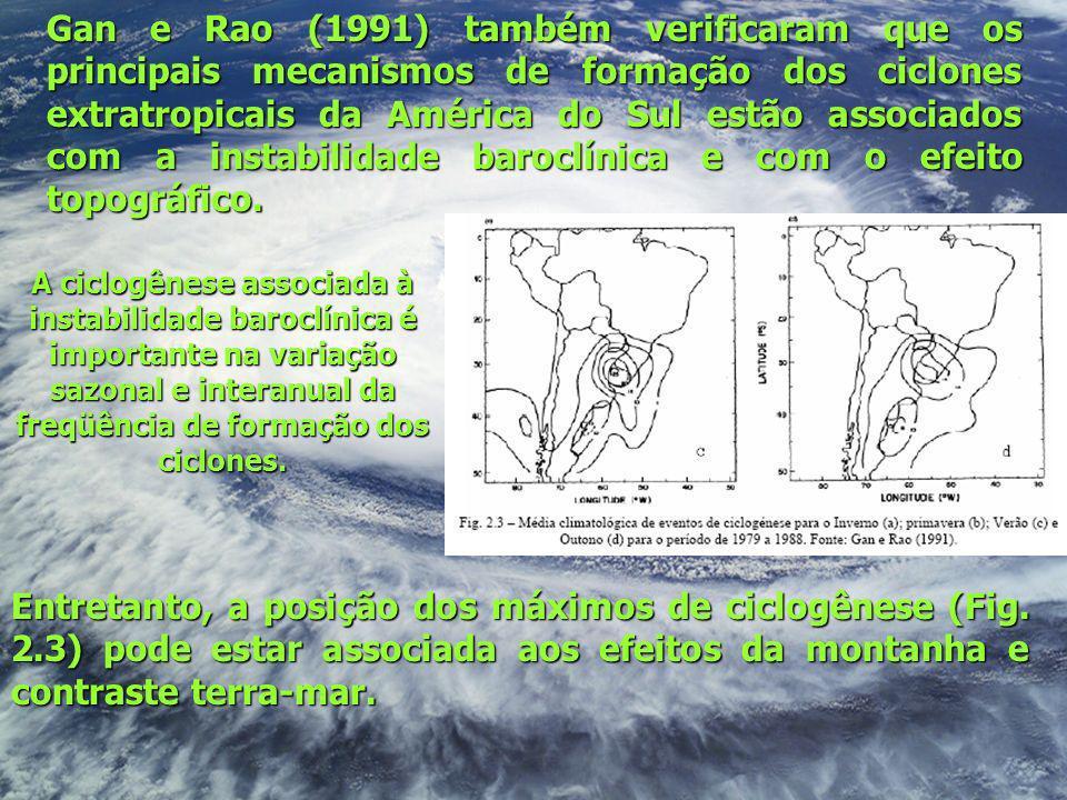 Gan e Rao (1991) também verificaram que os principais mecanismos de formação dos ciclones extratropicais da América do Sul estão associados com a inst