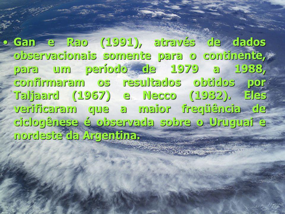 Gan e Rao (1991), através de dados observacionais somente para o continente, para um período de 1979 a 1988, confirmaram os resultados obtidos por Tal