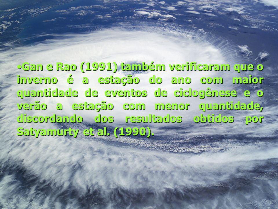 Gan e Rao (1991) também verificaram que o inverno é a estação do ano com maior quantidade de eventos de ciclogênese e o verão a estação com menor quan
