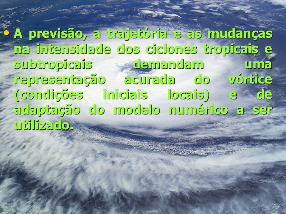 A previsão, a trajetória e as mudanças na intensidade dos ciclones tropicais e subtropicais demandam uma representação acurada do vórtice (condições i