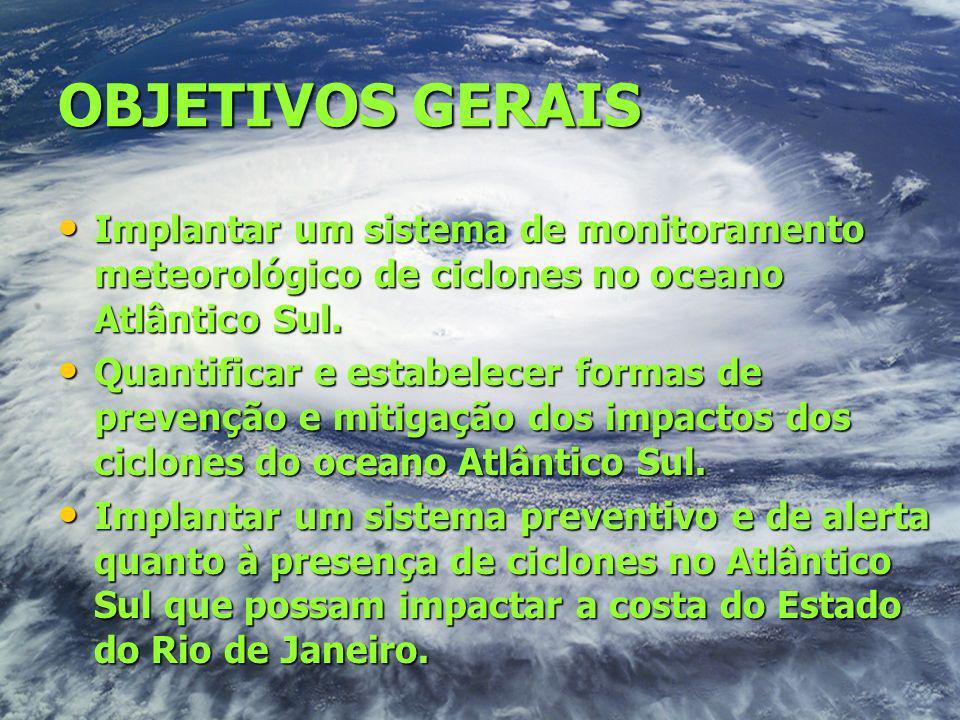 OBJETIVOS GERAIS Implantar um sistema de monitoramento meteorológico de ciclones no oceano Atlântico Sul. Implantar um sistema de monitoramento meteor