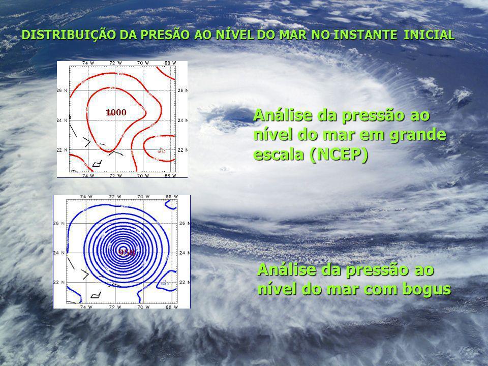 DISTRIBUIÇÃO DA PRESÃO AO NÍVEL DO MAR NO INSTANTE INICIAL Análise da pressão ao nível do mar com bogus Análise da pressão ao nível do mar em grande e