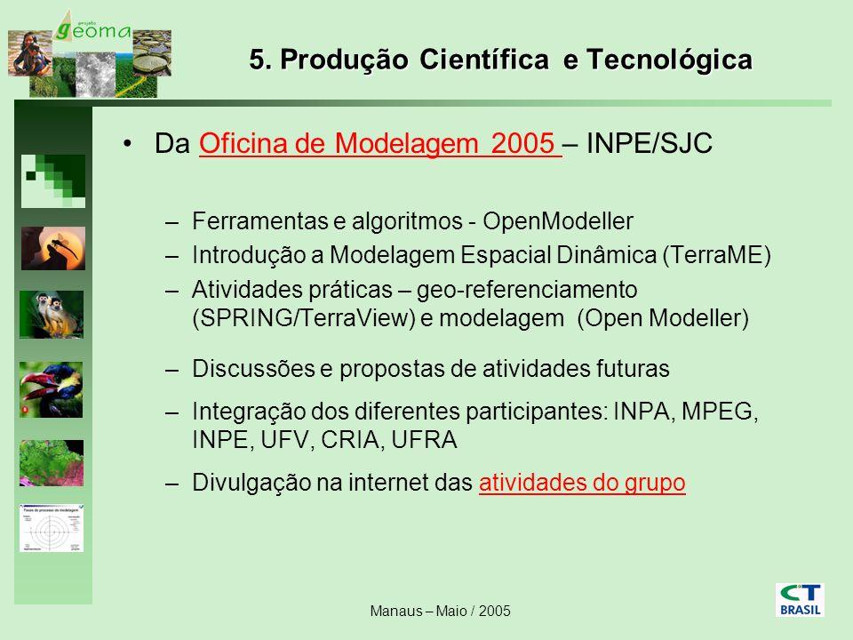 Manaus – Maio / 2005 5. Produção Científica e Tecnológica Da Oficina de Modelagem 2005 – INPE/SJCOficina de Modelagem 2005 –Ferramentas e algoritmos -