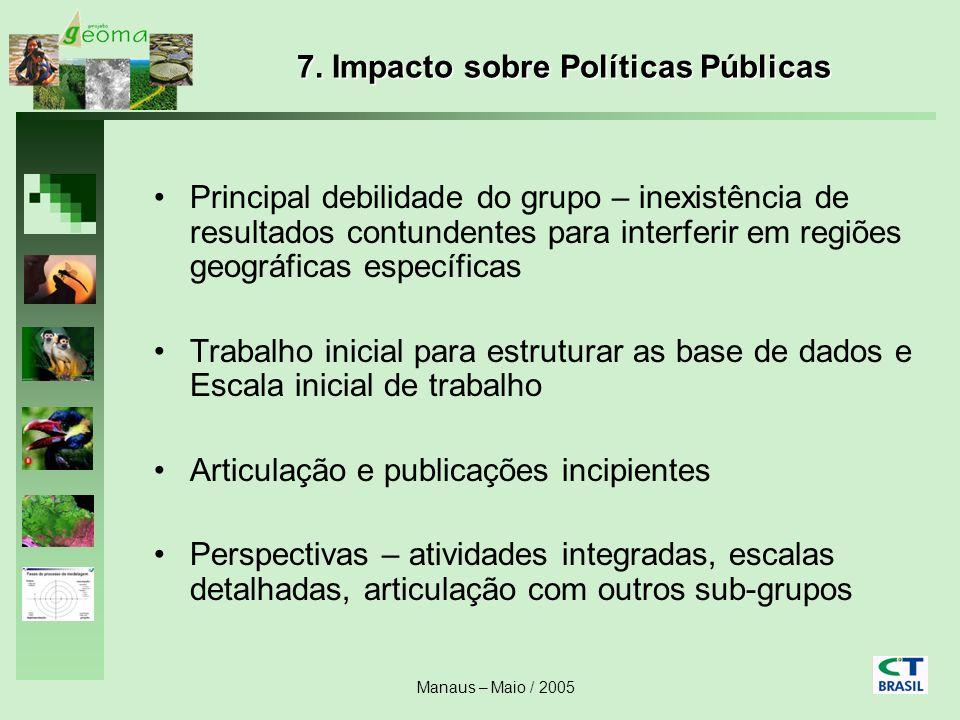 Manaus – Maio / 2005 7. Impacto sobre Políticas Públicas Principal debilidade do grupo – inexistência de resultados contundentes para interferir em re