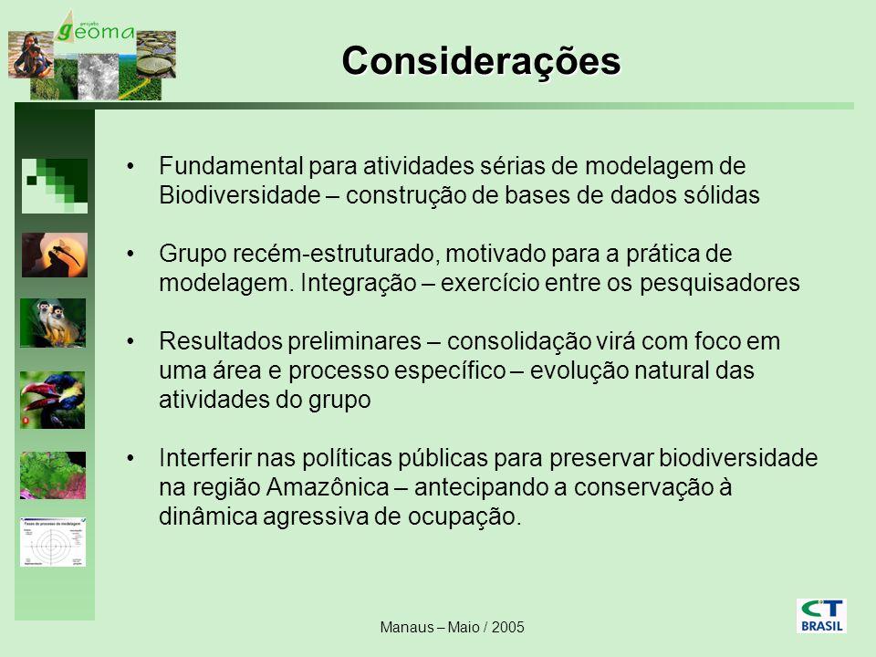 Manaus – Maio / 2005 Considerações Fundamental para atividades sérias de modelagem de Biodiversidade – construção de bases de dados sólidas Grupo recé