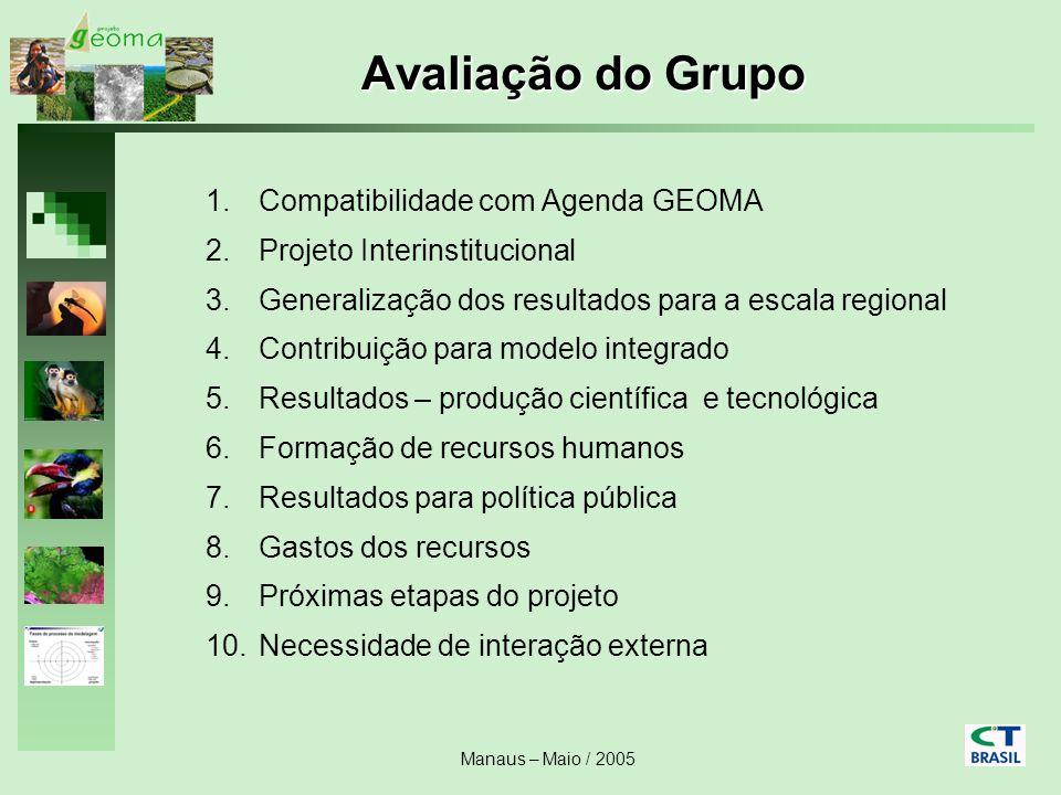 Manaus – Maio / 2005 Avaliação do Grupo 1.Compatibilidade com Agenda GEOMA 2.Projeto Interinstitucional 3.Generalização dos resultados para a escala r