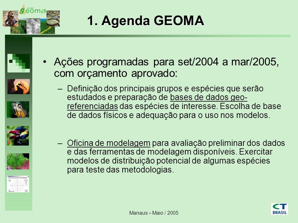 Manaus – Maio / 2005 Ações programadas para set/2004 a mar/2005, com orçamento aprovado: –Definição dos principais grupos e espécies que serão estudad
